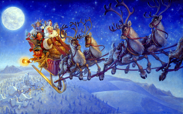 Santa Claus Riding His Sleigh Reindeer With His Friends Gifts In Sky Moon Bg Picture Image Hidden Pond Tree Farm